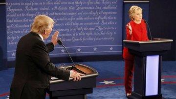 Trump ve Clinton seçim münazarasında bir araya geldi