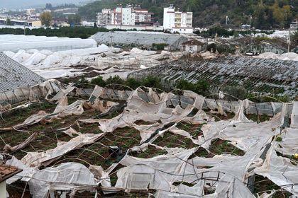 Antalya'da tarla ve seraları hortum vurdu